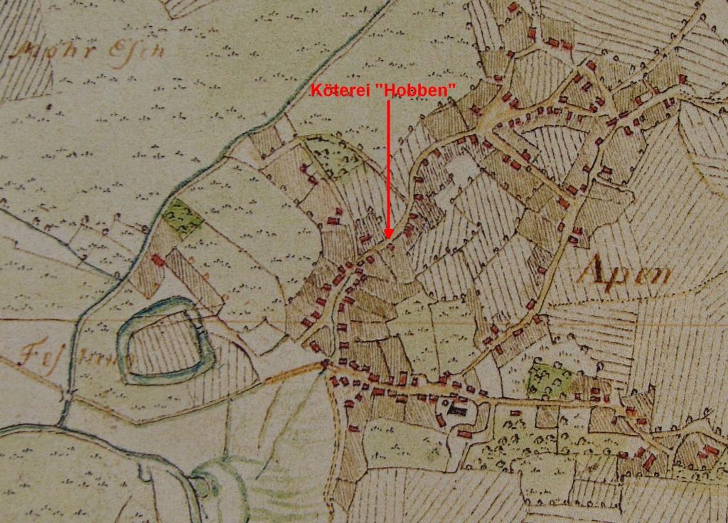 Hobben-Hof in Apen in Vogteikarte von 1793