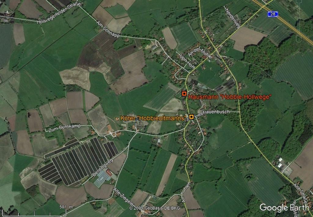Höfe in Hollwege in GoogleEarth