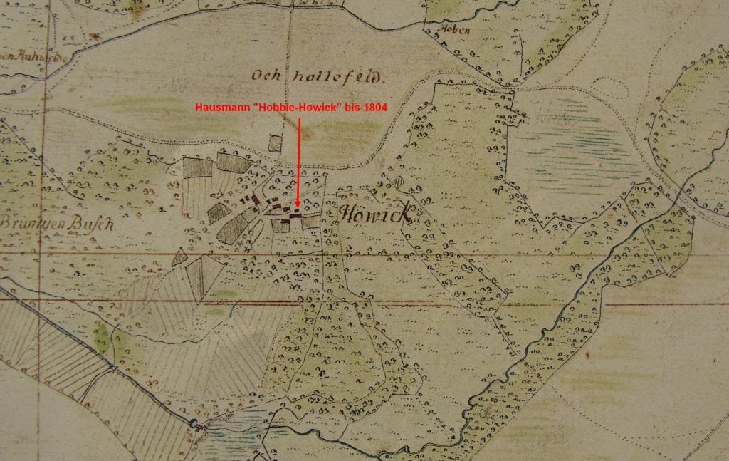 Hobbie-Hof in Howiek in Vogteikarte von 1793