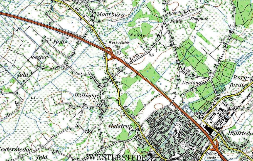 Topographische Karte von Hollwege (TK50)