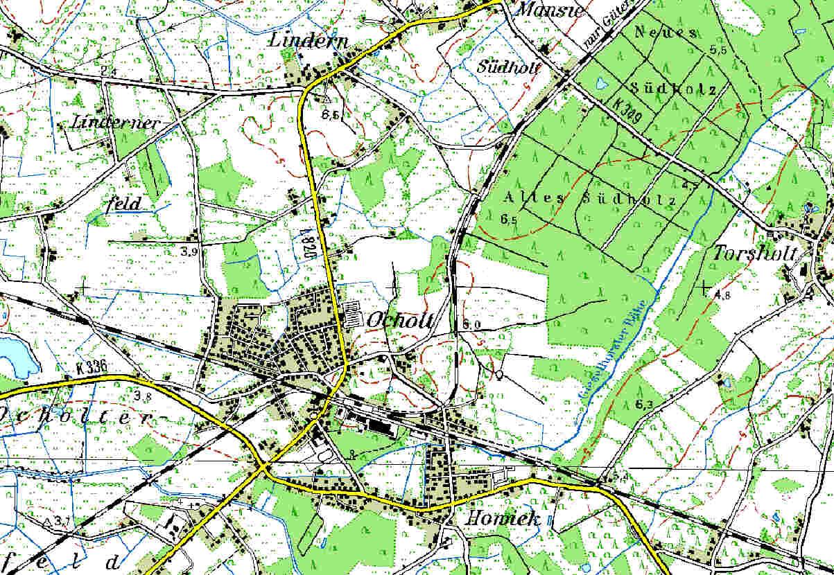 Topographische Karte von Ocholt (TK50-1998)