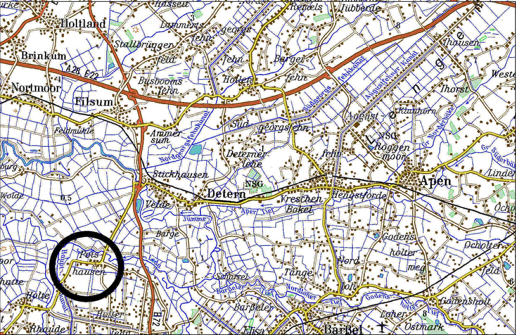 Topographische Karte von Potshausen (TK200-1998)
