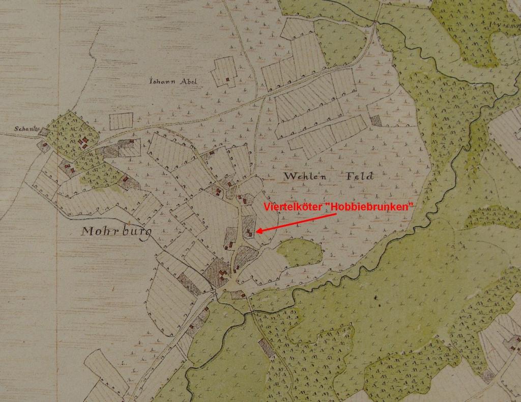 Höfe in Moorburg in Vogteikarte von 1793