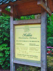 Firmentafel Rhododendron-Park Hobbie