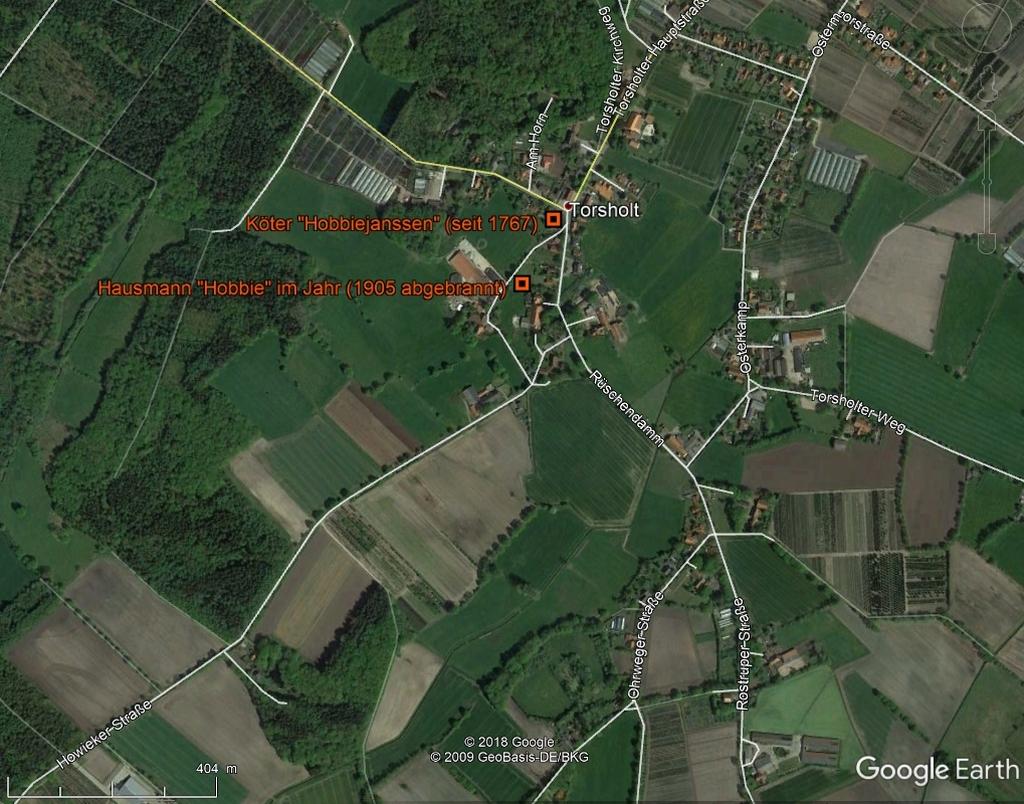 Höfe in Torsholt in GoogleEarth