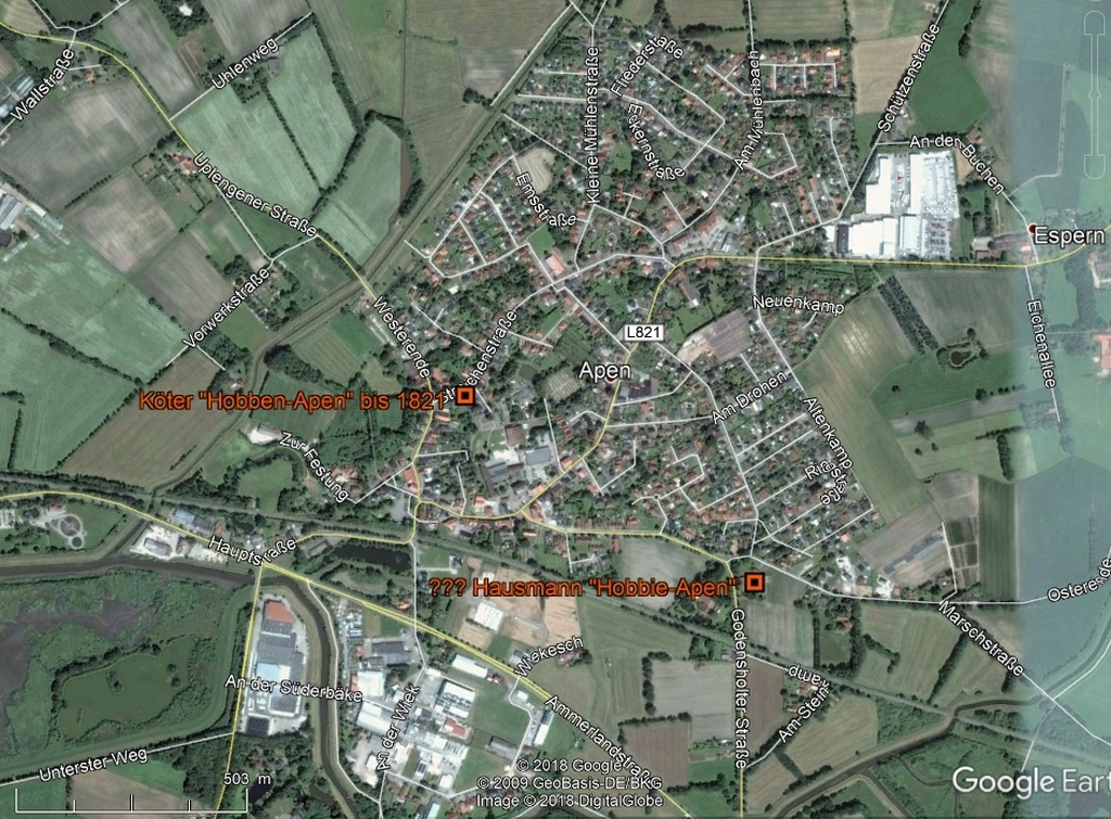 Höfe in Apen in GoogleEarth