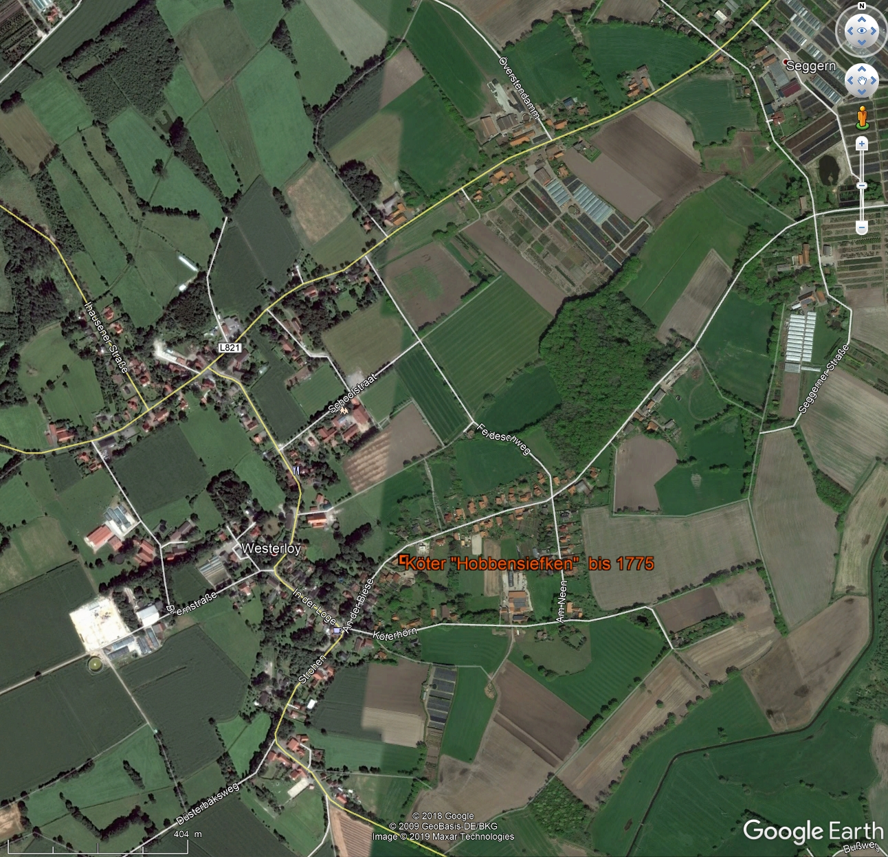 Hof in Westerloy in Google Earth